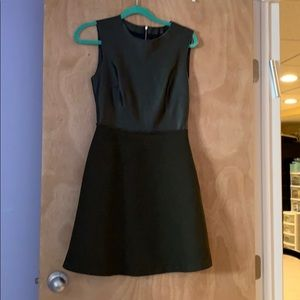 Zara green leather-wool dress size S